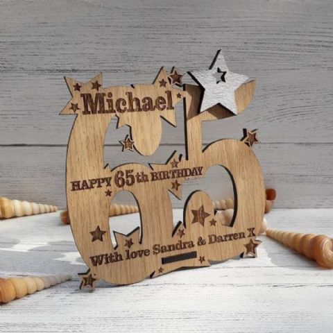 Personalised Sixty Fifth 65th Birthday Celebration Card Oak Wooden Keepsake Gift
